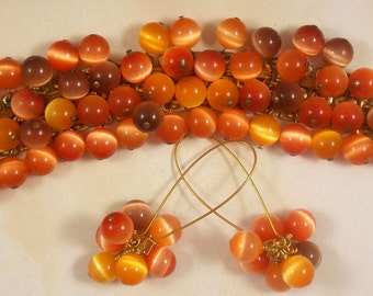 Marble Orange, Brown with Yellow accent in the glass beads, Bracelet and Ear Rings