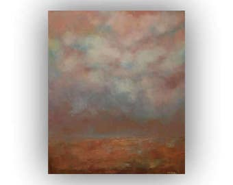 Abstract Landscape- Brown Blue and Orange Field Sky and Clouds Oil Painting- Original 24 x 30 Palette Knife Art on Canvas