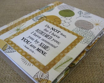 Legacy Prayer Journal, Bound Book, Blues, Greens, and Yellows Leafy Print with Mustard Yellow Polka Dot Accents