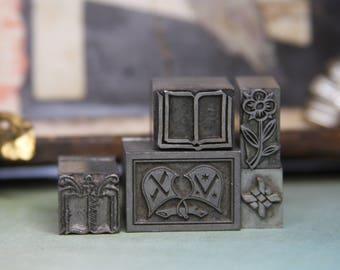 Metal Print BLOCKS (5)  Printer's Tray VINTAGE- Typography- Industrial Printing Press- Metal Block Lot-Flower Plant Nature Shield- B6
