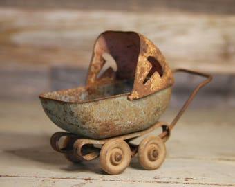 Antique Doll Buggy- Metal Baby Carriage Vintage Doll Toy Stroller with Wooden Wheels- Rusted Metal Patina- Vintage Toy Buggy