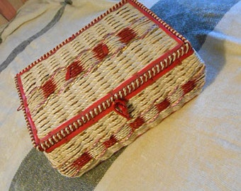 Raffia SEWING BASKET Thread Needles Trims Ribbons Buttons Pincushion, Chock Full Perfect Starter Seamstress Gift, 1960s Craft Supply Keeper