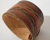 SALE Small Distressed Brown Leather Cuff Bracelet Repurposed Belt Western Boho Unisex