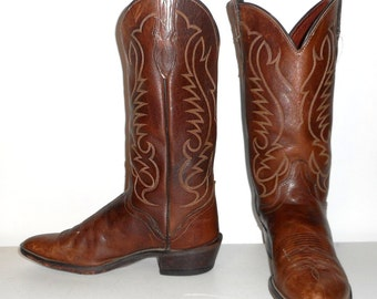 Mens 8 D Cowboy Boots Brown Western Rockabilly Country Indie Shoes Womens 9.5