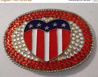 ON SALE Americana Heart Belt Buckle USA Flag Red White Blue Rhinestones Bling Boho Western