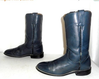 Womens Size 7 M Acme Cowboy Boots Steel Blue Roper Boho Hippie Cowgirl Western