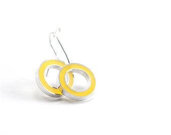 It's Okay Earrings -- yellow resin and sterling silver gift holiday christmas bright