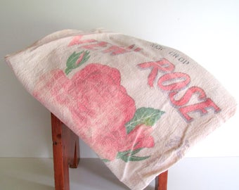 Large Vintage Muslin Rice Sack Bag New Rose Rice Vintage Graphics Faded Red Green Red Green Craft Supply