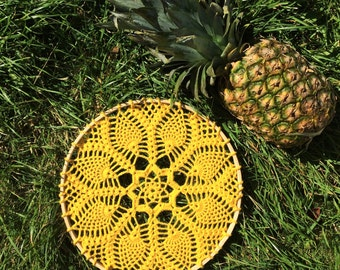 Custom colour intricate crochet doily hanging, pineapples and yarn, crochet wall art, brighten the walls, housewarming present