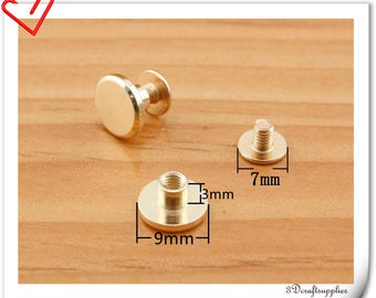 9mm x 3mm Gold screws rivets Chicago screw/Concho screw 20sets H86