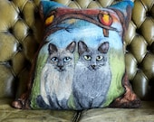 Felted Pillow cover Pussy cats  Decorative Pillow, Wool Felt Cushion Cover, Felted Pillow, couch pillow RESERVED