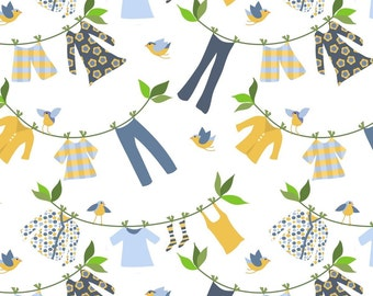 Laundry Fabric - Laundry Day By Vo_Aka_Virginiao - Laundry Clothesline Birds Cotton Fabric By The Yard With Spoonflower
