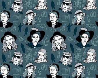 Hollywood Women Fabric - Deadly Dames By Bettyturbo - Blue Vintage Film Noir Movie Stars Cotton Fabric By The Yard With Spoonflower
