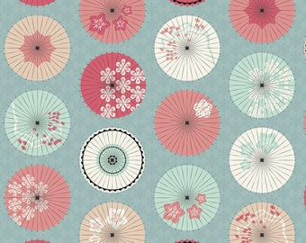 Coral and Mint Parasols Fabric - Japanese Umbrellas In The Winter By Pinkowlet - Pink and Blue Cotton Fabric By The Yard With Spoonflower