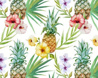 Pineapple Fabric - Topical Watercolor Hibiscus Flowers Pineapple By Khaus - Tropical Summer Cotton Fabric By The Yard With Spoonflower