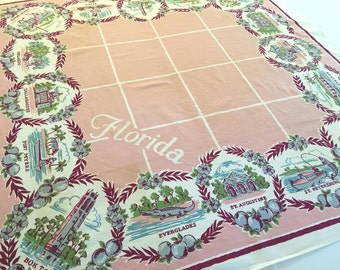 Vintage Florida tablecloth pink 1940s flamingos Miami Palm Beach Bok Tower souvernir Floridiana
