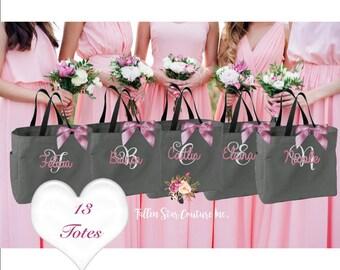 13 wedding party tote bags, bridesmaid wedding gifts, wedding tote bag, personalized wedding bag, bridesmaid tote bag, bridal party tote bag