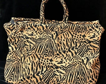 Gold and Black Tiger Print Chenille Fabric CarpetBag