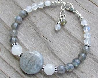 Labradorite and Moonstone Elegant Statement Natural Gemstone Healing Bracelet