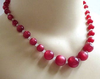 Lucite Cherry Juice Moonglow Necklace Vintage Faux Crystal Beads