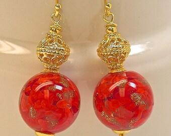 Vintage Venetian Aventurina Red Glass Bead Gold Flecks Dangle Earrings, Handmade Bali 24k Gold Vermeil Beads,Handmade Bali Ear wires