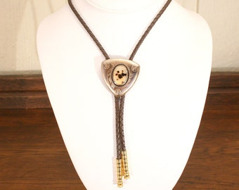 Moss Agate Native American Bolo Tie Vintage Brown Leather Cord Bola Necktie