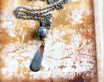 ON SALE Dusty Blue Enamel Teardrop Pendant Necklace Rustic Copper Abalone Torch Fired Enamel Jewelry