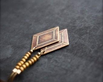 ON SALE Etched Gold Brass Diamond Drop Earrings Long Point Dangle Geometric Modern Boho Jewellery