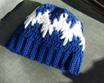 Crochet Deep Blue Snowflake Ladies/Teens Messy Bun Hat.  Medium Ladies Size Ready To Ship.  Custom Orders Available Any Size and Color.