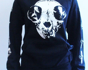 3 LEFT Skull Cat Hooded Sweatshirt