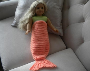 Coral Crochet Mermaid Tail Blanket For American Girl Doll or Most 18 inch Doll.