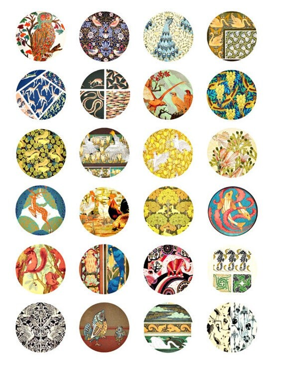 vintage Animal fabric patterns clip art collage sheet 1.5 inch circles textiles fish deer digital download graphics images craft printables