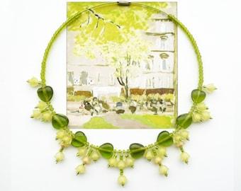 PRIMULA VERIS Statement Choker, Bridal Choker, Floral Bib, Art Nouveau Choker, Yellow Green Choker, Cottage Chic Choker, Urban Chic Choker