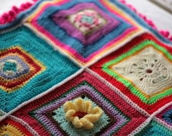 Crochet afghan, throw, blanket with pompom fringe