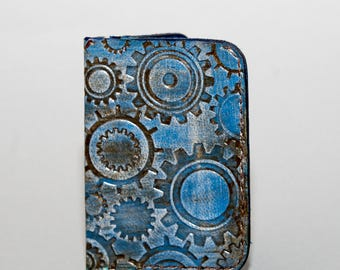 NEW!!! Ladies Textured Minimalist Leather Wallet - Blue