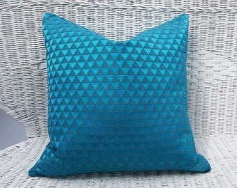 Peacock Blue Pillow Cover, Teal Geometric Pillows, Solid Teal Pillow, Turquoise Pillow, Teal Lumbar Pillow 12x18, Triangles Pillow 18 20