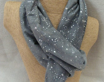 Gray Shimmer Infinity Scarf - Silver Glitter Circle Scarf - Loop Scarf - Forever Scarf - Rhode Island