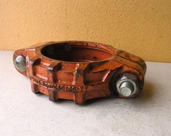 Metal Catchall Dish Smartphone Key Holder Industrial Office Tray Orange Steampunk Gift for men Nightstand Table Storage Bathroom Organizer