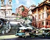 Reserved for Laura.  Artist Aldo Raimondi Vintage Fine Print Picture Roma La Scalinata De Trinta Dei Monti Italy Water Color Rare 1950s