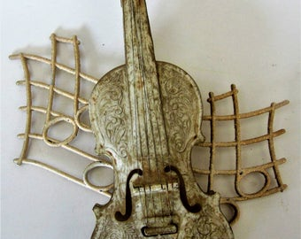 Violin Fiddle Guitar Litho 3D Wall Hanging Plaque Brown Cream Gold 1960s Vintage Picture USA Unique Fiddle Tone Toy Violin