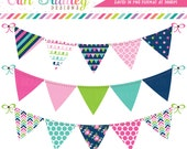Cheery Day Bunting Clipart, Banner Flag Clip Art Graphics in Pink Navy Blue & Green Commercial Use OK