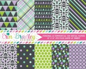 60% OFF SALE Digital Paper Pack Digital Scrapbook Paper in Purple Blue Green & Charcoal Polka Dots Doodles Flowers Triangle Patterns