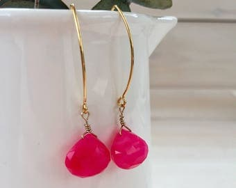 Pink Agate Teardrop Earrings in Gold