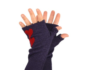 Fingerless Gloves in Twilight Purple with Red Hearts - Recycled Merino Wool
