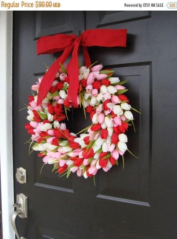 SPRING WREATH SALE Valentine's Day Wreath- Valentine's Day Decor- Valentine Decoration- Tulip Wreath