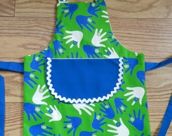 FREE SHIPPING, Childs Apron, Paint Apron, Cooking Apron, Kids Apron, Hand Prints Apron, Blue Apron, Hands Apron, Green Print, Girls Apron,