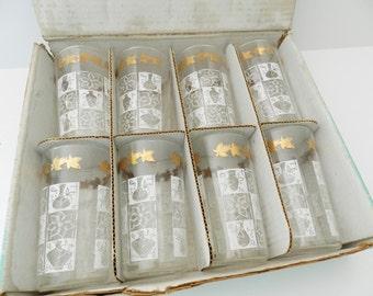 NOS Beverage Glasses, Anchor Hocking Glasses, White Glasses, 1960s Beverage Glasses, Beverage Set, Never Used Glasses, Retro Kitchen Decor
