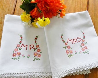Mr and Mrs Pillowcases, Hand Embroidered Pillowcases, Crochet Trim Pillowcases, Red Pillowcases