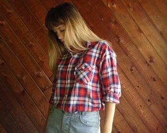 25% off Flash Sale . . . Levis Red Plaid Western Shirt - Vintage 70s - S M