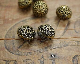 Metal Bead Antiqued Gold Bead Ornate Bead Filigree Bead Gold Filigree Beads (2) IG425